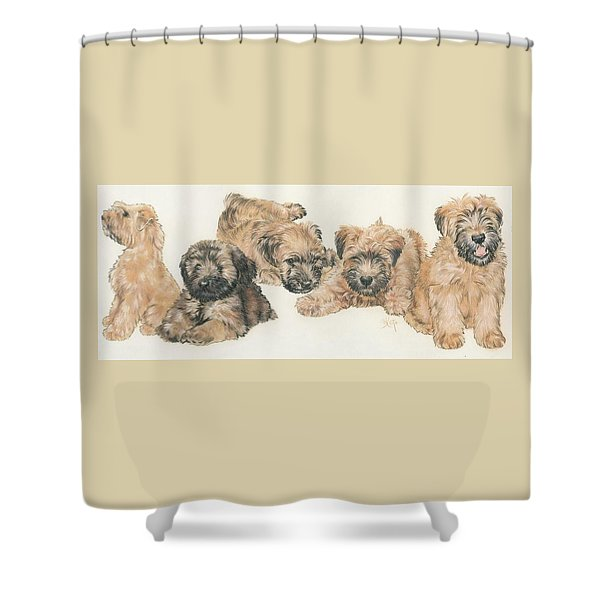 Shower Curtain featuring the mixed media Soft-coated Wheaten Terrier Puppies by Barbara Keith