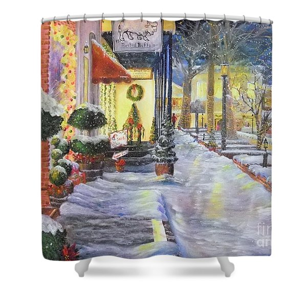 Soft Snowfall In Dahlonega Georgia An Old Fashioned Christmas Shower Curtain