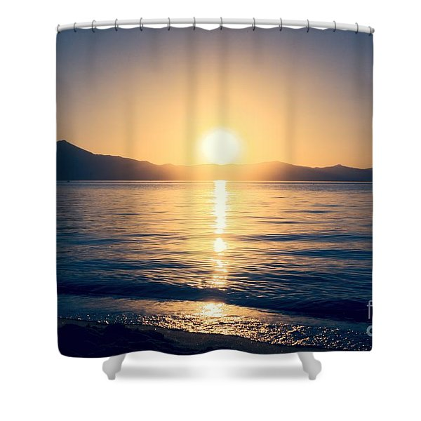 Soft Sunset Lake Shower Curtain