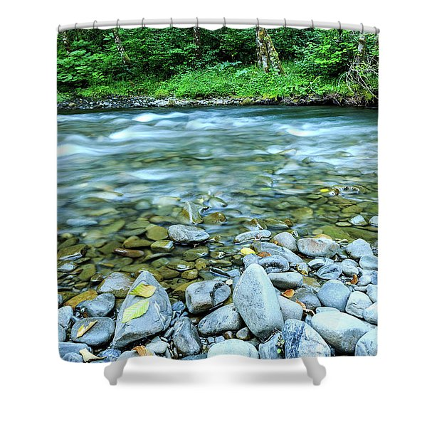 Sol Duc River In Summer Shower Curtain