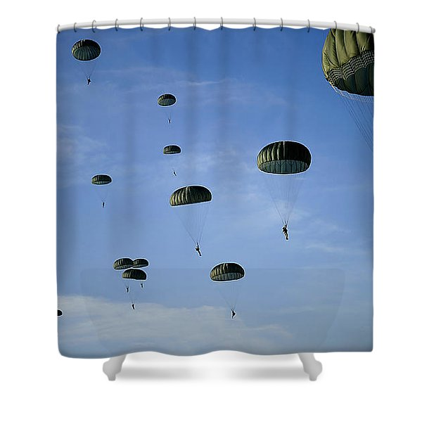 Soldiers Descend Under A Parachute Shower Curtain