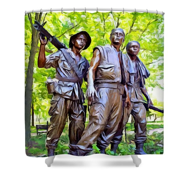 Soldiers Statue At The Vietnam Wall Shower Curtain