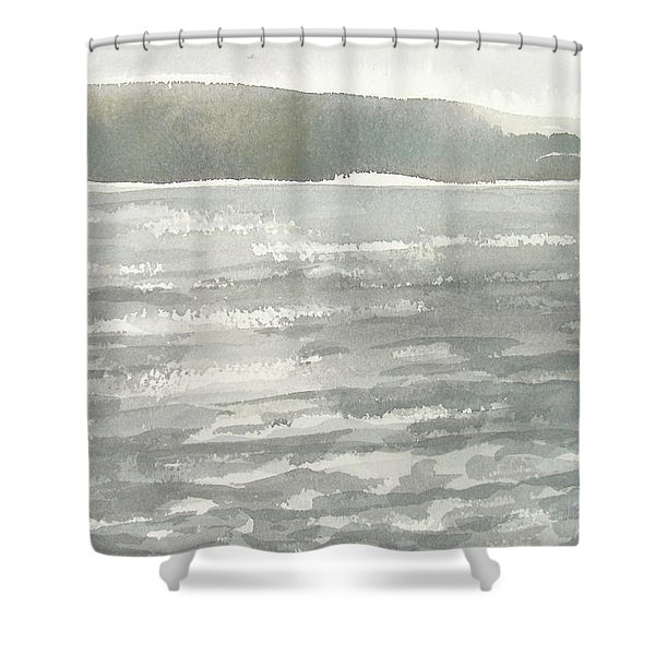 Soldis Over Glittrande Fjord - Sunlit Haze Over Glittering Water_0023 76x48cm Shower Curtain