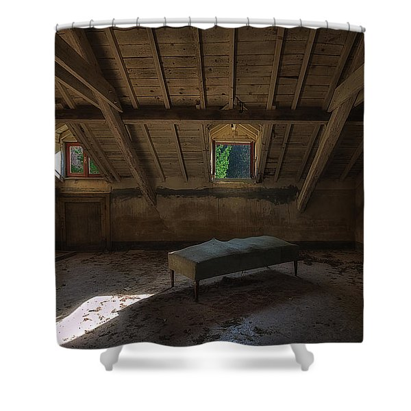 Solitary Bed Under The Roof  - Letto Solitario Sotto Il Tetto Shower Curtain