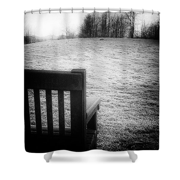 Solitary Bench In Winter Shower Curtain