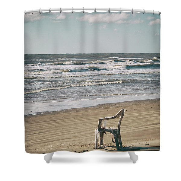 Shower Curtain featuring the photograph Solo On The Beach by Charles McKelroy