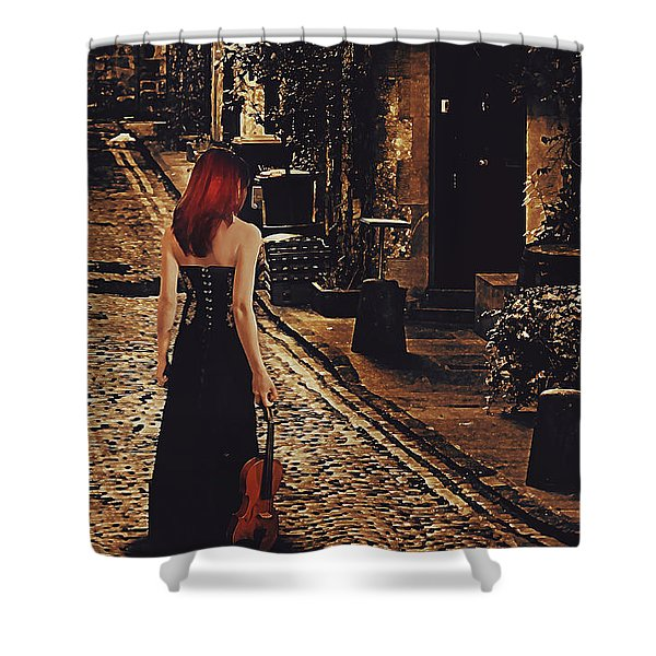 Soloist - Solitary Woman With Violin Shower Curtain