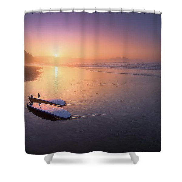 Sopelana Beach With Surfboards On The Shore Shower Curtain