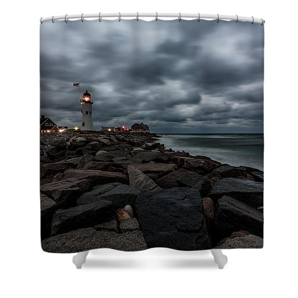 Stormy Clouds Over Old Scituate Lighthouse In The Early Morning Shower Curtain