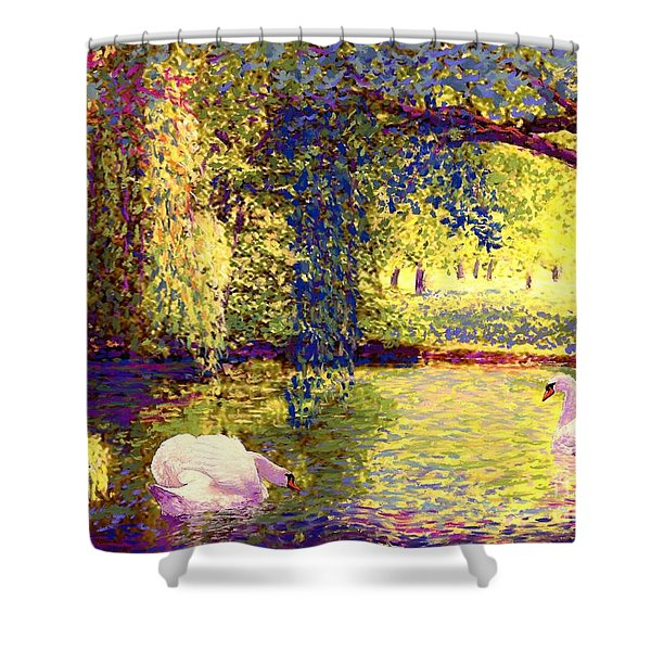 Swans, Soul Mates Shower Curtain
