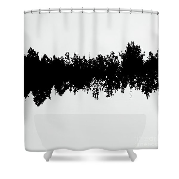 Sound Waves Made Of Trees Reflected Shower Curtain