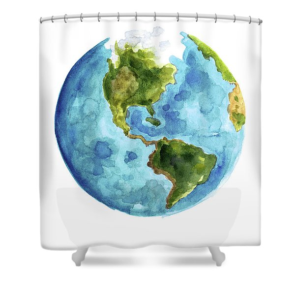 Planet Earth, South America Illustration, Watercolor World Map Painting Shower Curtain