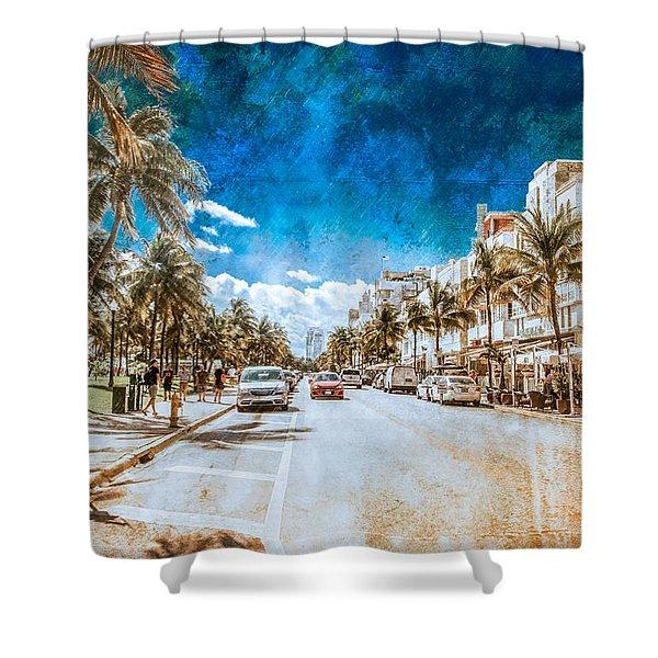 South Beach Road Shower Curtain