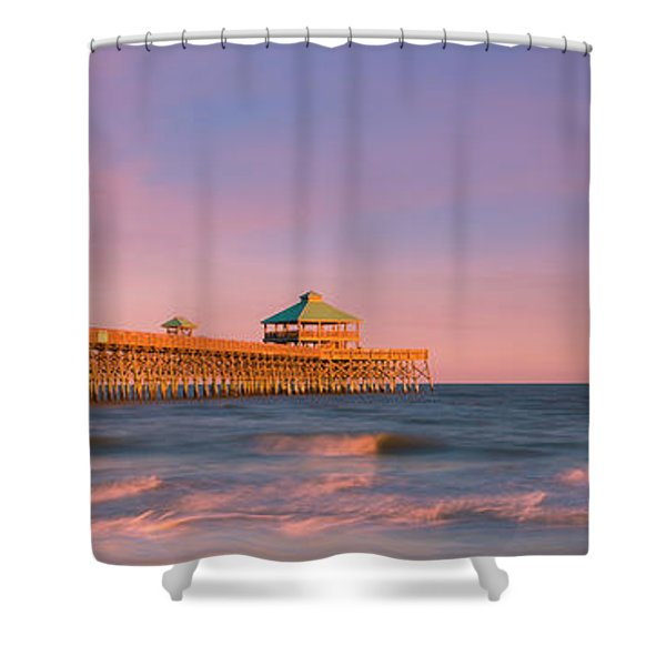 Shower Curtain featuring the photograph South Carolina Fishing Pier At Sunset Panorama by Ranjay Mitra