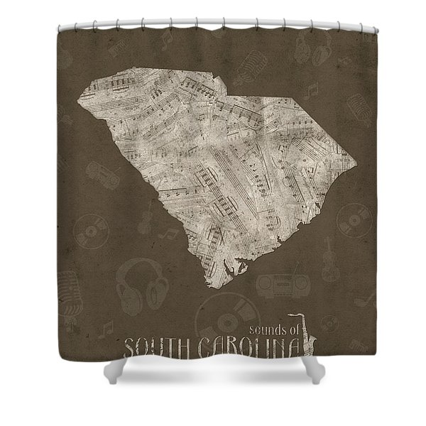 South Carolina Map Music Notes 3 Shower Curtain