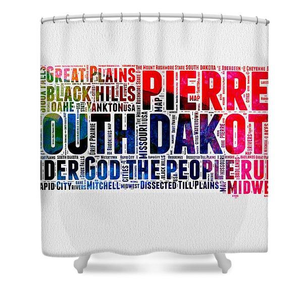 South Dakota Watercolor Word Cloud Shower Curtain