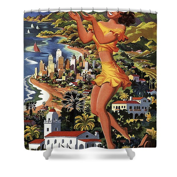 Southern California Vintage Travel 1950's Shower Curtain