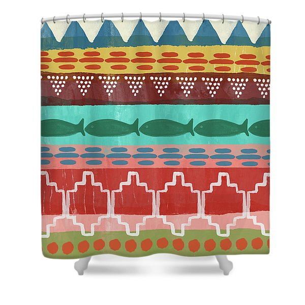 Southwest With Fish- Art By Linda Woods Shower Curtain
