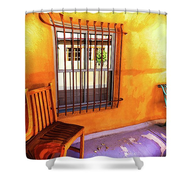 Southwestern Porch Distortion With Puple Floor Shower Curtain