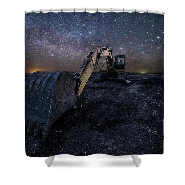 Space Excavator  Shower Curtain