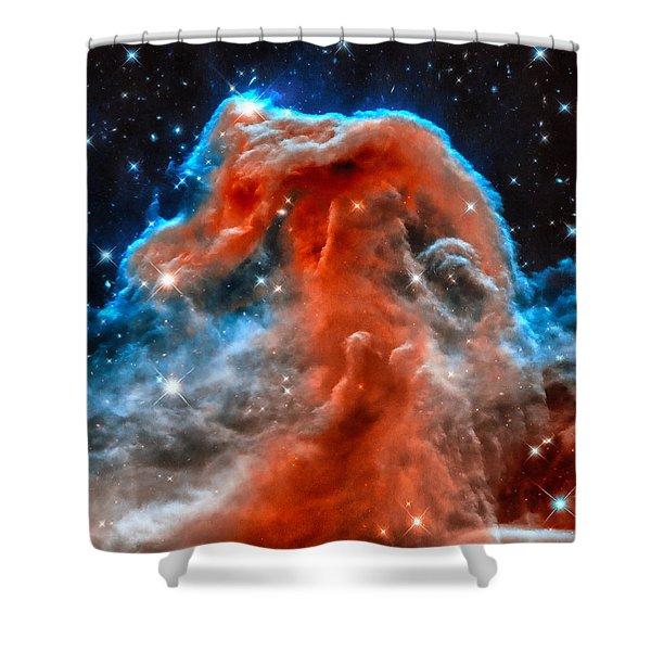 Space Image Horsehead Nebula Orange Red Blue Black Shower Curtain