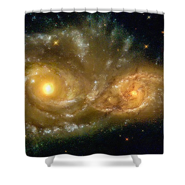 Space Image Spiral Galaxy Encounter Shower Curtain