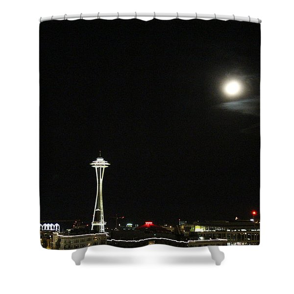 Space Needle And The Full Moon Shower Curtain