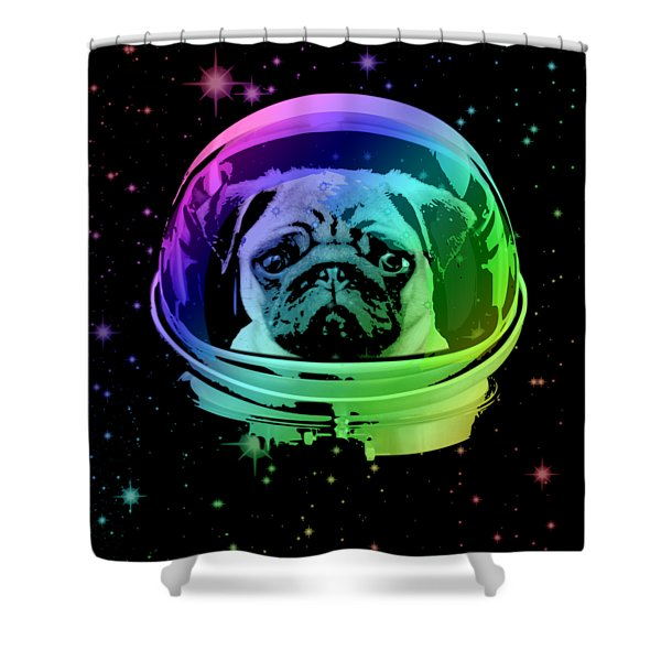 Space Pug Shower Curtain