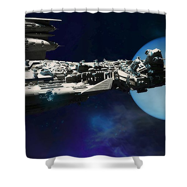 Spaceship To Neptune Shower Curtain