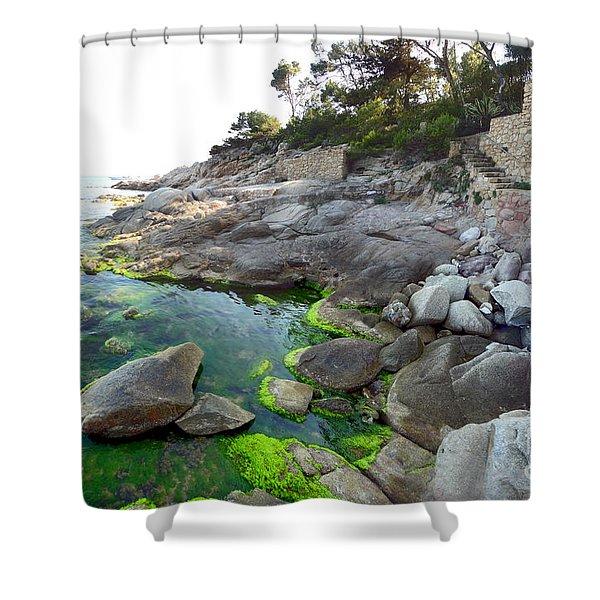 Spanish Seascape Shower Curtain