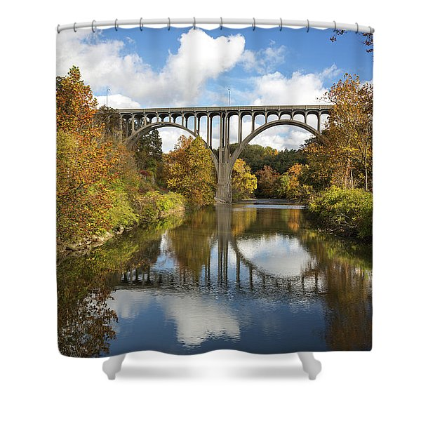 Spanning The Cuyahoga River Shower Curtain