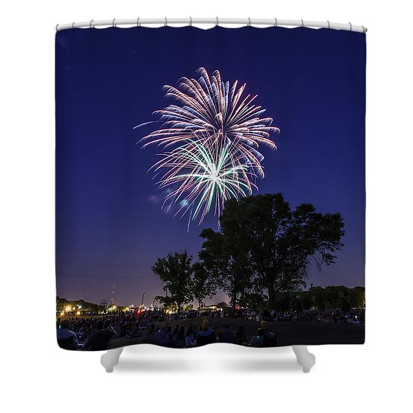 Spark and Bang Shower Curtain by CJ Schmit