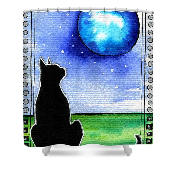 Sparkling Blue Bauble - Christmas Cat Shower Curtain