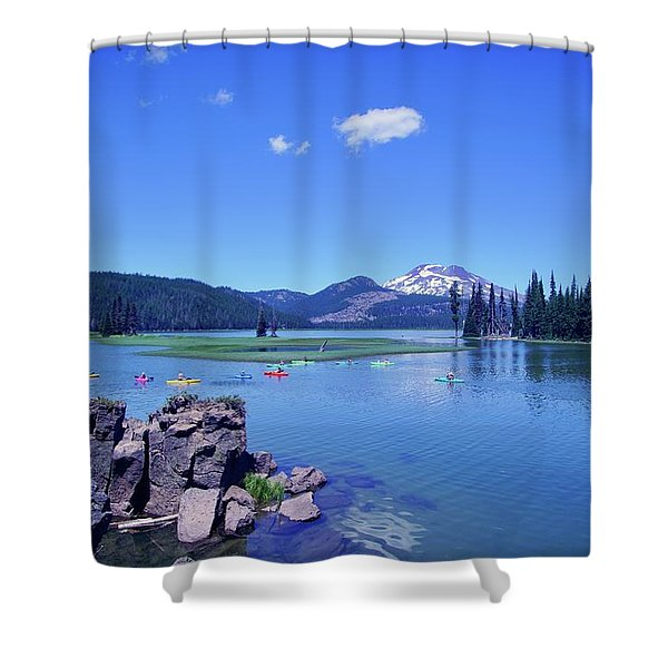 Sparks Lake With Kayakers Shower Curtain