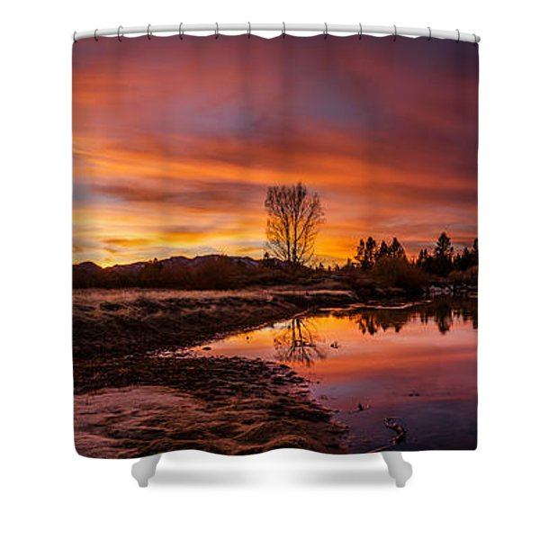 Spectacular Sunset On The River Shower Curtain