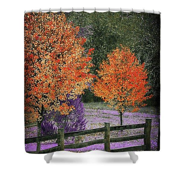 Spectral Autumn Shower Curtain