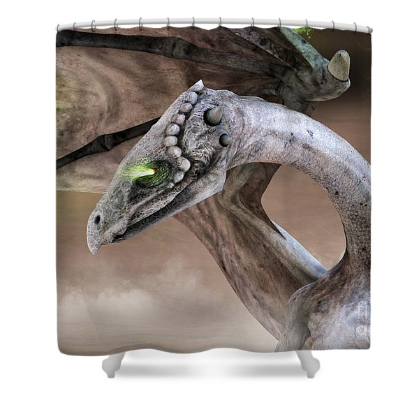Spectral Dragon Shower Curtain