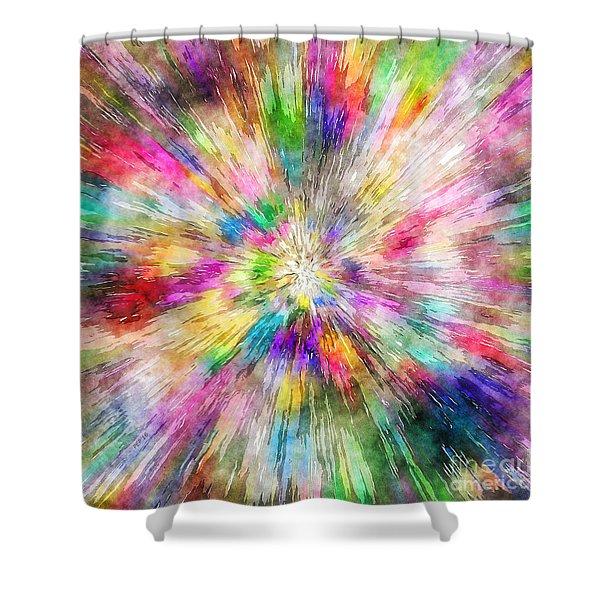 Spectral Tie Dye Starburst Shower Curtain