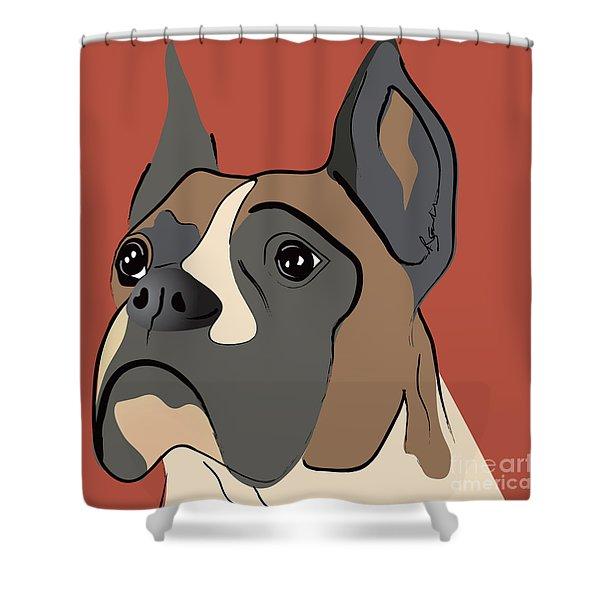 Spencer Boxer Dog Portrait Shower Curtain
