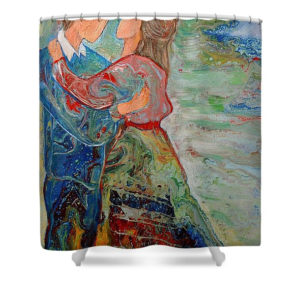 Shower Curtain featuring the painting Spending Time With You by Deborah Nell