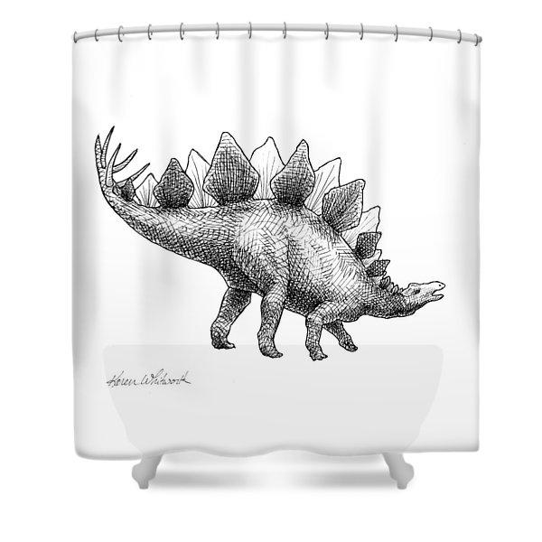 Stegosaurus - Dinosaur Decor - Black And White Dino Drawing Shower Curtain