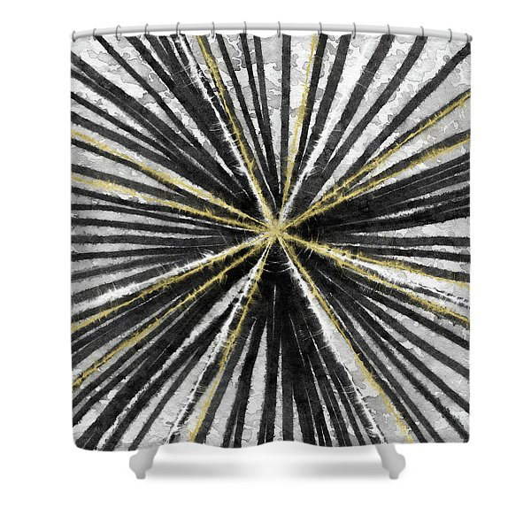 Spinning Black And Gold- Art By Linda Woods Shower Curtain