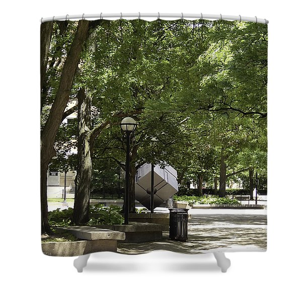 Spinning Cube On Campus Shower Curtain