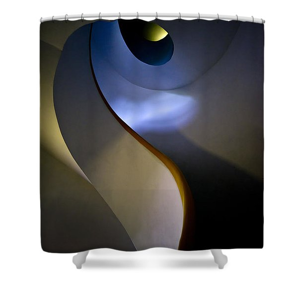 Shower Curtain featuring the photograph Spiral Concrete Modern Staircase by Jaroslaw Blaminsky