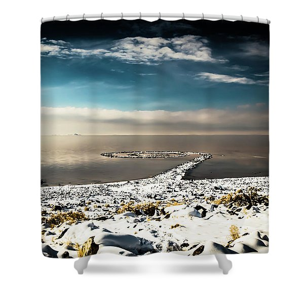 Spiral Jetty In Winter Shower Curtain