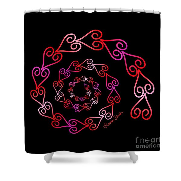 Spiral Of Hearts Shower Curtain