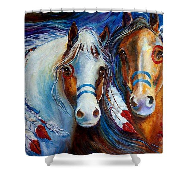 Spirit Indian War Horses Commission Shower Curtain