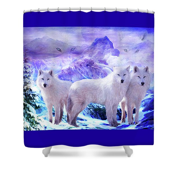 Spirit Of The Arctic Wolf Shower Curtain