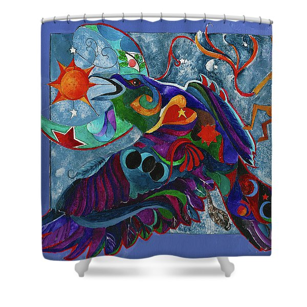 Spirit Raven Totem Shower Curtain