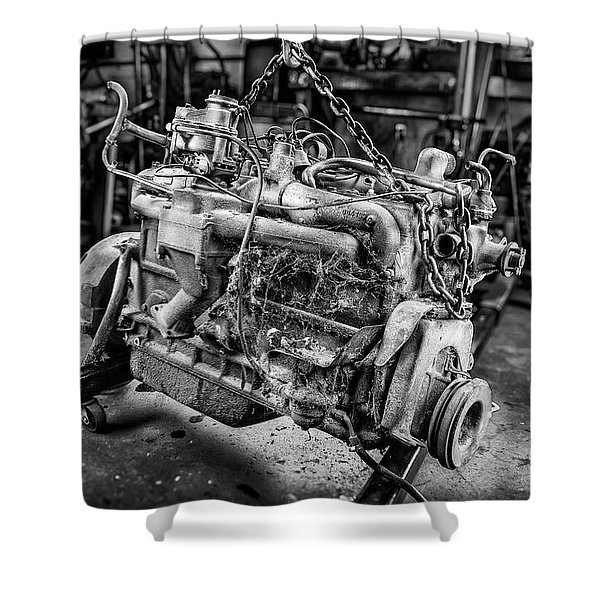 Spitfire Straight 8 Engine Bw Shower Curtain